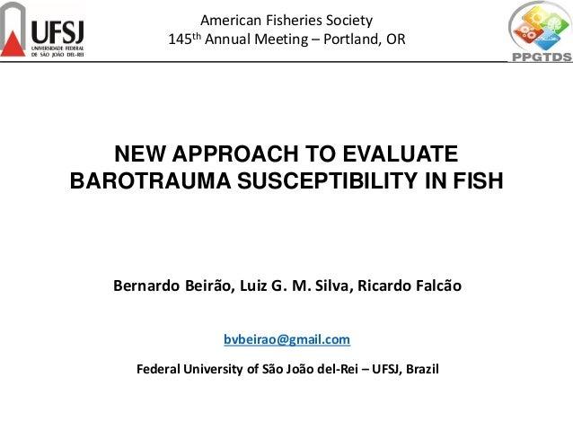 NEW APPROACH TO EVALUATE BAROTRAUMA SUSCEPTIBILITY IN FISH Bernardo Beirão, Luiz G. M. Silva, Ricardo Falcão bvbeirao@gmai...