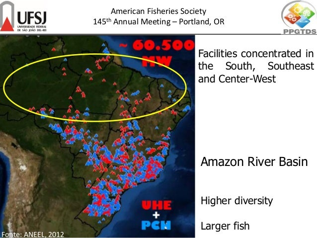 Fonte: ANEEL, 2012 Amazon River Basin Higher diversity Larger fish American Fisheries Society 145th Annual Meeting – Portl...