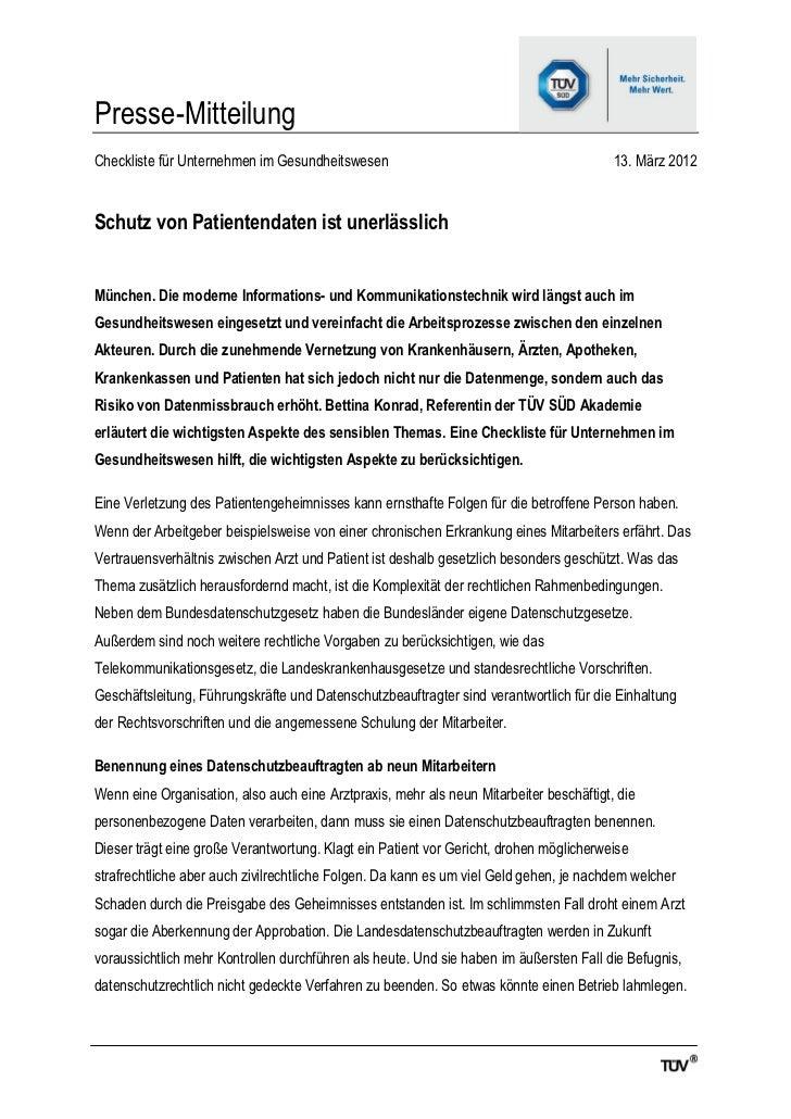 Presse-MitteilungCheckliste für Unternehmen im Gesundheitswesen                                           13. März 2012Sch...