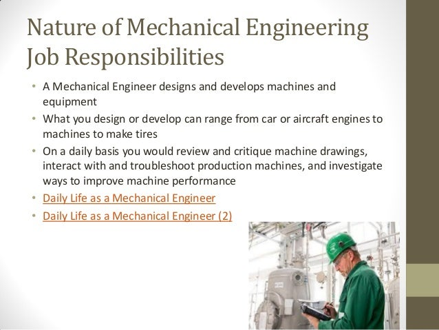 responsibilities of mechanical engineer