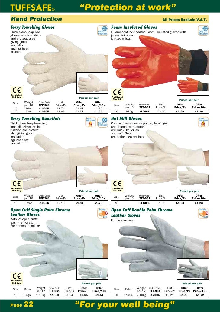 Pack Of 5 Tuffsafe 32Oz Terry Towelling K//W Gloves Size 10