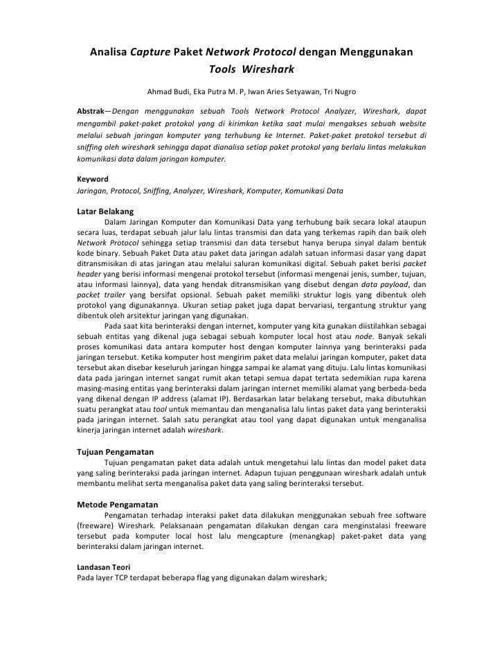 Analisa Capture Paket Network Protocol dengan Menggunakan                         Tools Wireshark                    Ahmad...
