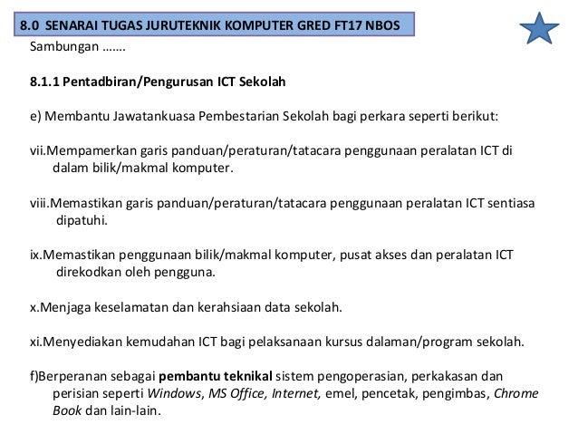 8.1.2 Pengurusan Pembelajaran dan Pengajaran (PdP) a)Menyediakan keperluan peralatan ICT untuk kegunaan guru dalam PdP. b)...