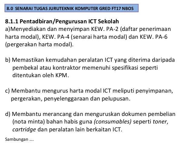 Sambungan …….. 8.1.1 Pentadbiran/Pengurusan ICT Sekolah e) Membantu Jawatankuasa Pembestarian Sekolah bagi perkara seperti...