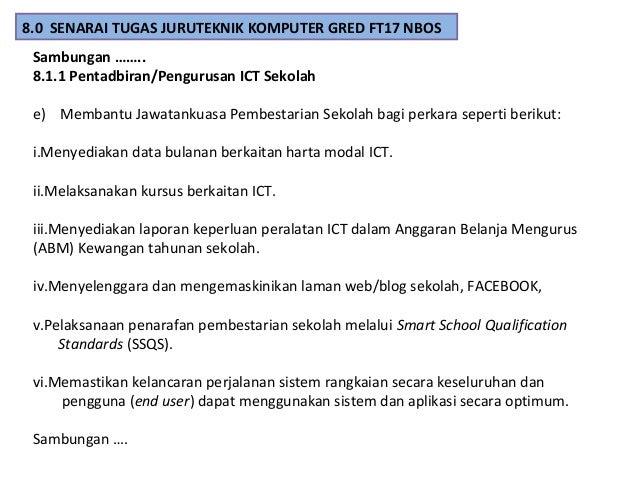 Sambungan ……. 8.1.1 Pentadbiran/Pengurusan ICT Sekolah e) Membantu Jawatankuasa Pembestarian Sekolah bagi perkara seperti ...