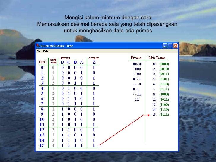 Mengisi kolom minterm dengan cara Memasukkan desimal berapa saja yang telah dipasangkan  untuk menghasilkan data ada primes