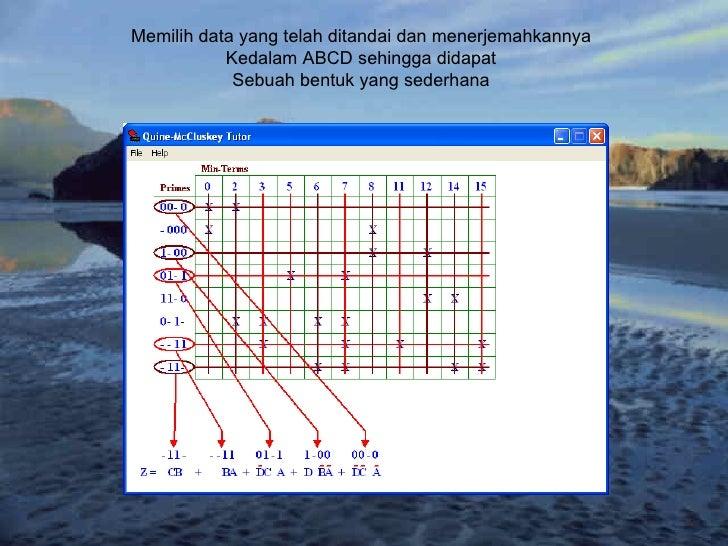Memilih data yang telah ditandai dan menerjemahkannya Kedalam ABCD sehingga didapat Sebuah bentuk yang sederhana