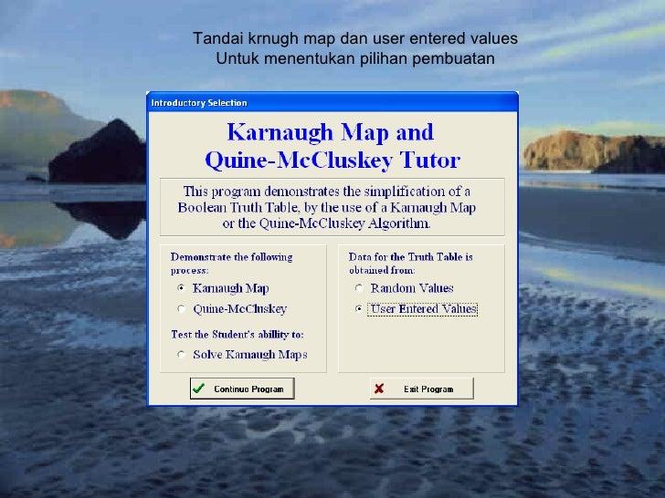 Tandai krnugh map dan user entered values Untuk menentukan pilihan pembuatan