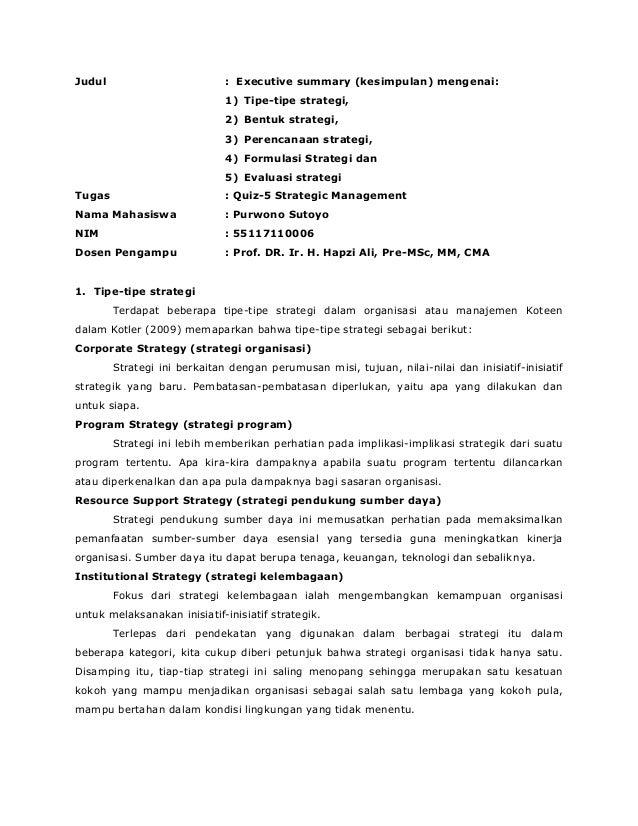 Sm Purwono Sutoyo Hapzi Ali Executive Summary Mengenai Tipe Tipe