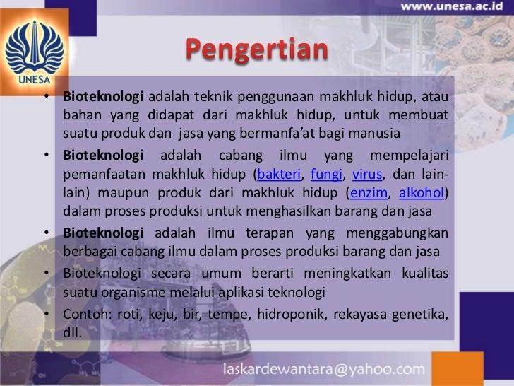 Bioteknologi dan Aplikasinya