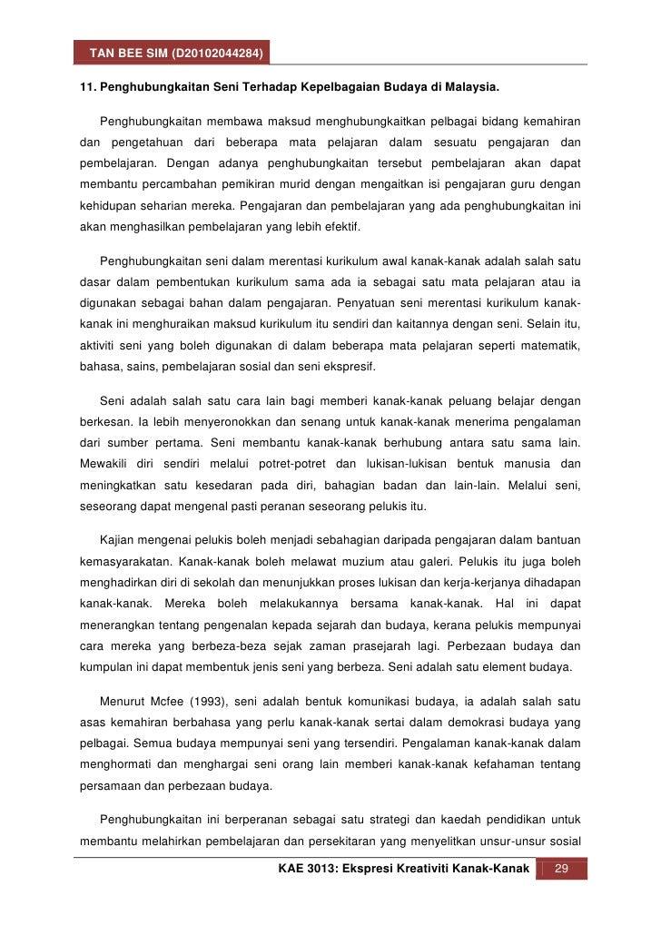 TAN BEE SIM (D20102044284)11. Penghubungkaitan Seni Terhadap Kepelbagaian Budaya di Malaysia.   Penghubungkaitan membawa m...