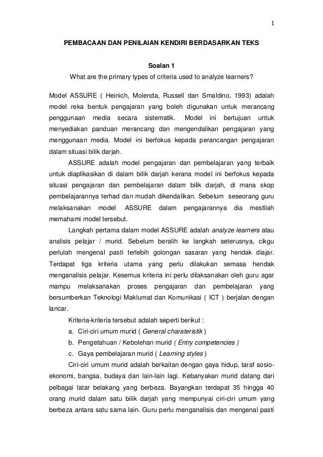 1 PEMBACAAN DAN PENILAIAN KENDIRI BERDASARKAN TEKS  Soalan 1 What are the primary types of criteria used to analyze learne...