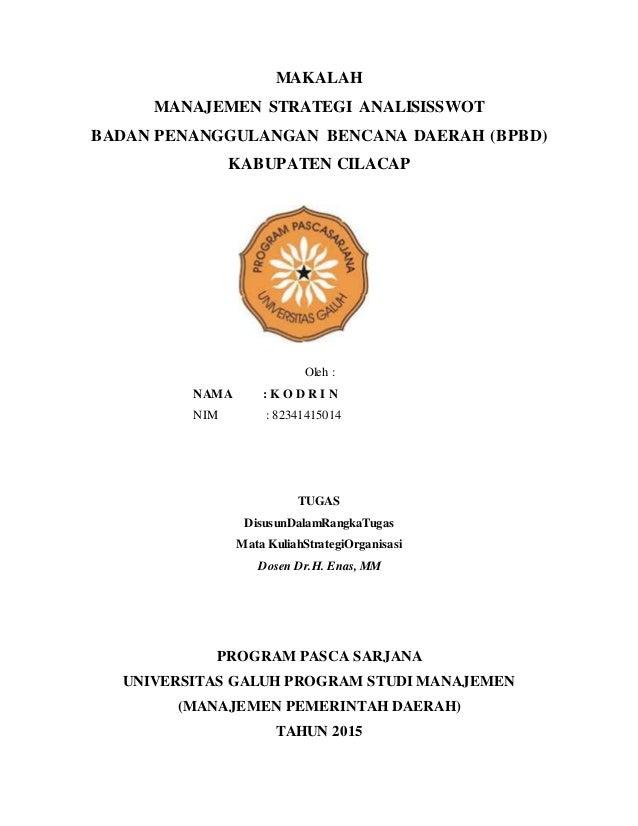 Tugas Analisis Swot Dr H Enas Kodirin 2015