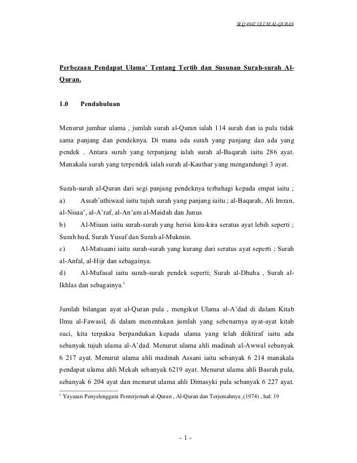 SLQ 4042 ULUM AL-QURANPerbezaan Pendapat Ulama' Tentang Tertib dan Susunan Surah-surah Al-Quran.1.0        PendahuluanMenu...