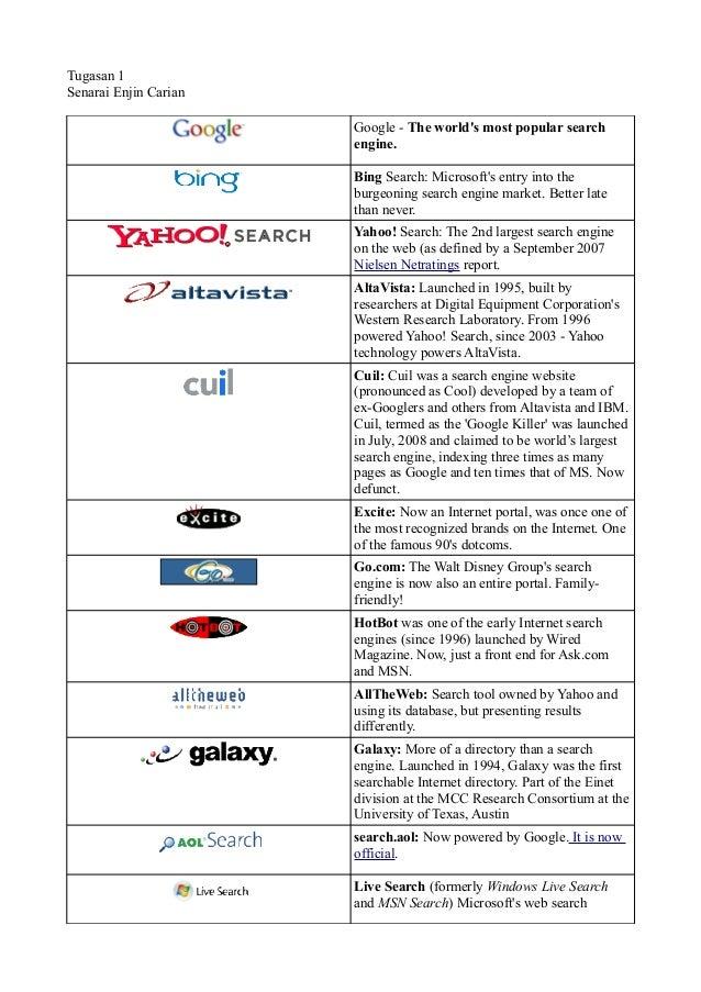 Tugasan 1Senarai Enjin Carian                       Google - The worlds most popular search                       engine. ...