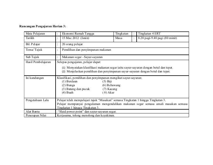 Rancangan Pengajaran Harian 3:    Mata Pelajaran       :   Ekonomi Rumah Tangga                    Tingkatan    :   Tingka...