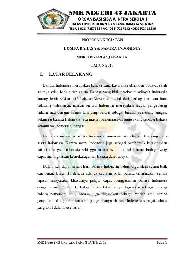 Contoh Proposal Tugas Bahasa Indonesia