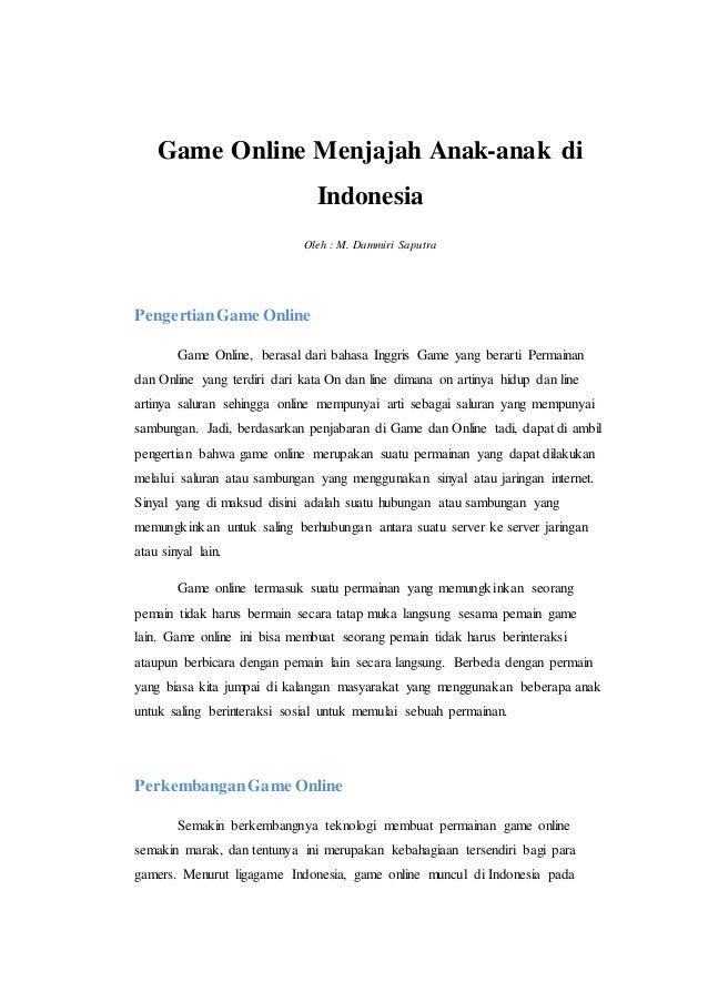 Artikel Mengenai Game Online Tugas Bahasa Indonesia
