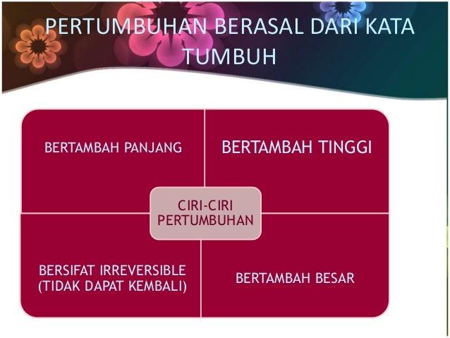 PERTUMBUHAN BERASAL DARI KATA  TUMBUH  BERTAMBAH PANJANG BERTAMBAH TINGGI  BERSIFAT IRREVERSIBLE  (TIDAK DAPAT KEMBALI)  B...