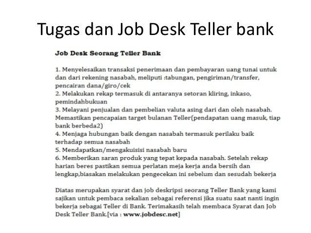 Tugas Dan Job Desk Teller Bank