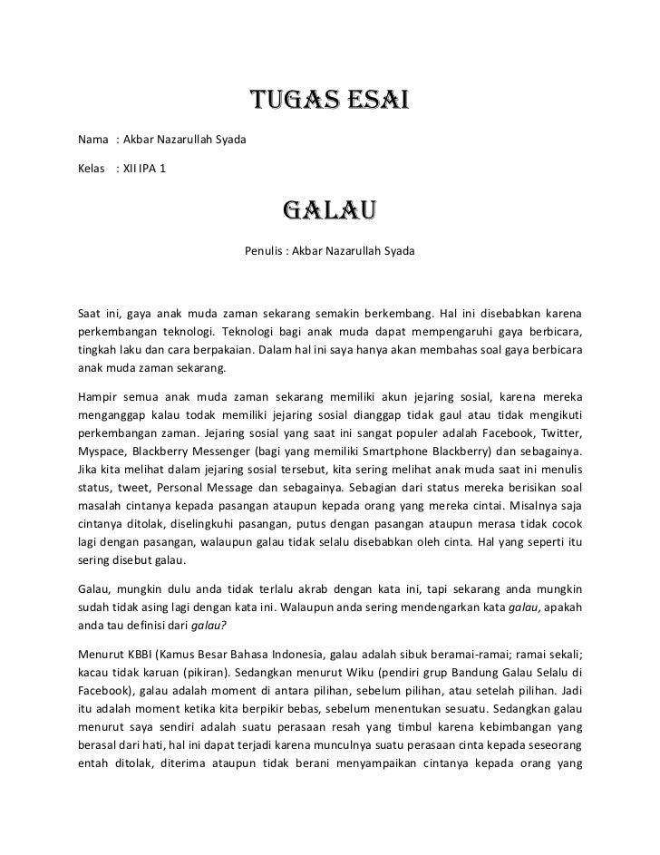Contoh Essay Ospek Ub
