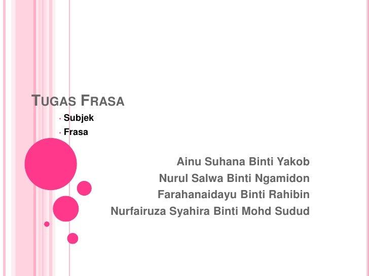 TUGAS FRASA   •   Subjek   •   Frasa                            Ainu Suhana Binti Yakob                         Nurul Salw...