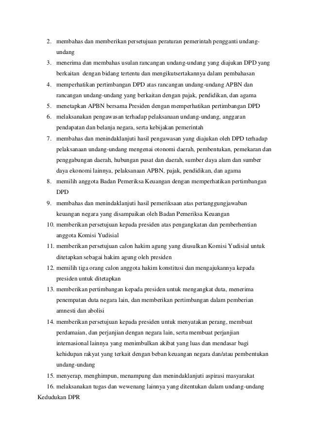 Tugas,fungsi dan kedudukan dari mpr,dpr,dpd,presiden,bpk,ma,mk,ky,dan kpu. Slide 2