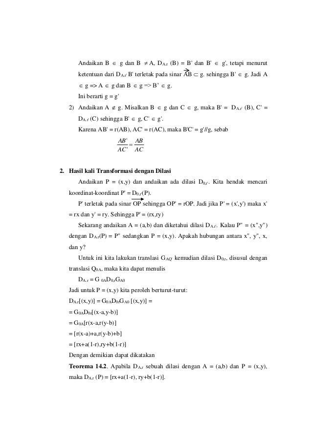Andaikan B  g dan B  A, DA.r (B) = B' dan B'  g', tetapi menurut ketentuan dari DA.r' B' terletak pada sinar AB  g. se...