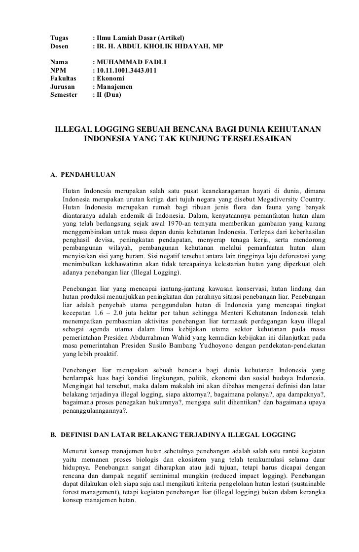 Tugas        : Ilmu Lamiah Dasar (Artikel)Dosen        : IR. H. ABDUL KHOLIK HIDAYAH, MPNama         : MUHAMMAD FADLINPM  ...