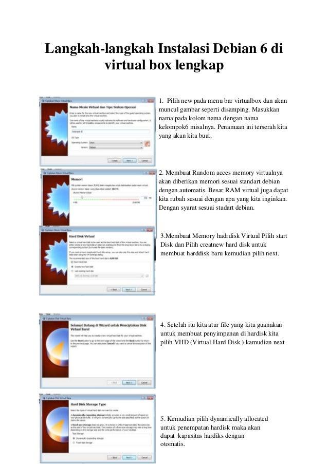 Langkah-langkah Instalasi Debian 6 di virtual box lengkap 1. Pilih new pada menu bar virtualbox dan akan muncul gambar sep...