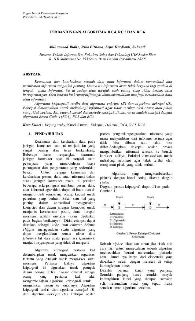 Tugas Jurnal Keamanan Komputer Pekanbaru,24 Oktober2010 PERBANDINGAN ALGORITMA RC 4, RC 5 DAN RC 6 Muhammad Ridho, Rika Fi...