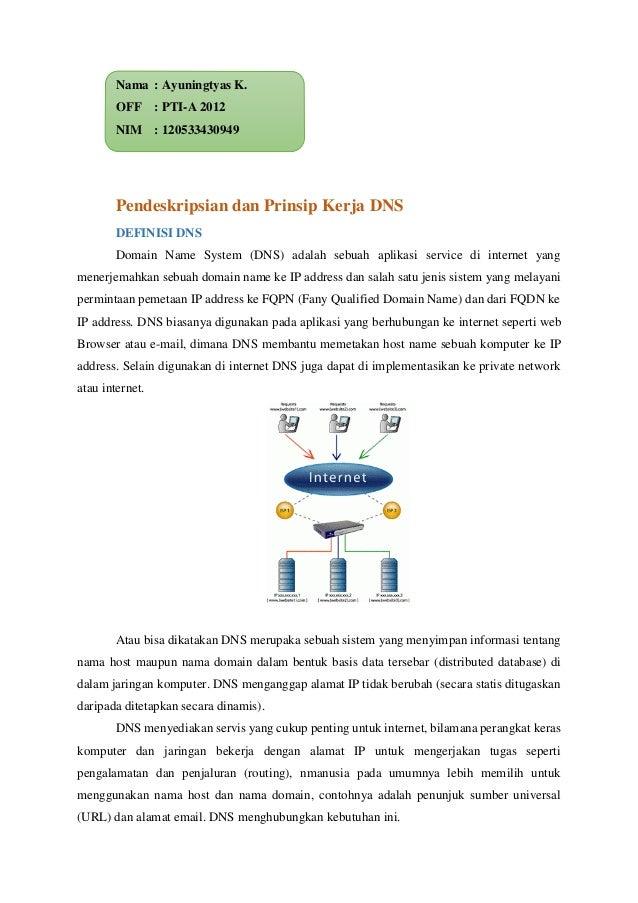 Nama : Ayuningtyas K. OFF : PTI-A 2012 NIM : 120533430949 Pendeskripsian dan Prinsip Kerja DNS DEFINISI DNS Domain Name Sy...