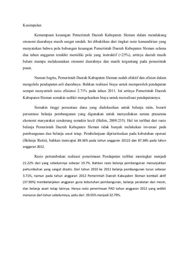 Analisis Laporan Realisasi Apbd Pemerintah Kabupaten Sleman 2011 2012