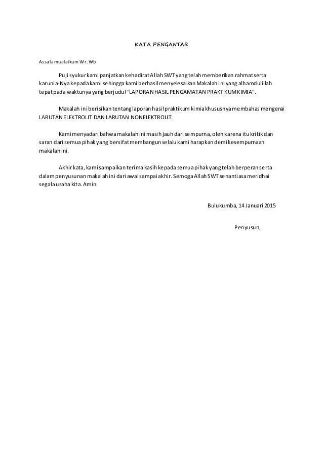 Contoh Kata Pengantar Laporan Praktikum Kimia