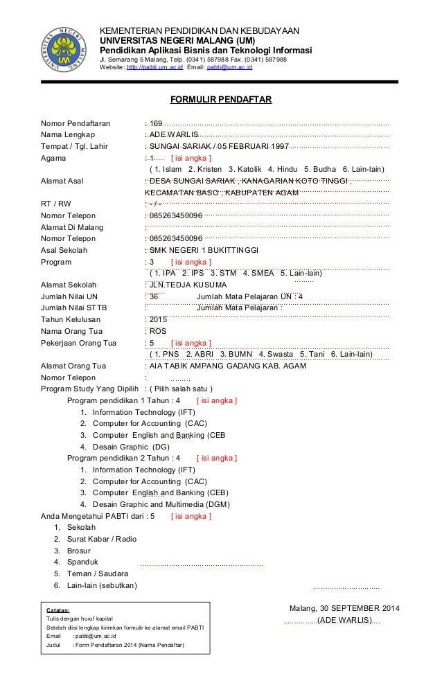 Contoh Formulir Pendaftaran Perguruan Tinggi