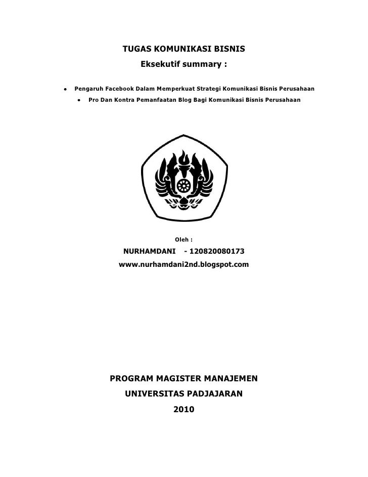 Tugas Komunikasi Bisniseksekutif Summary