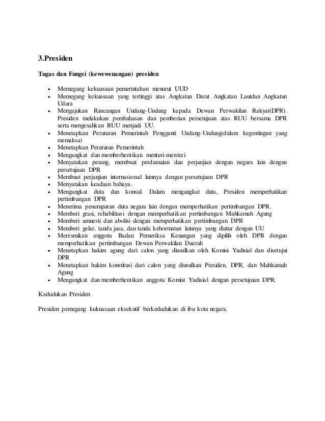 Fungsi Dan Tugas Presiden Mpr Dpr Bpk Ma Mk Dkk