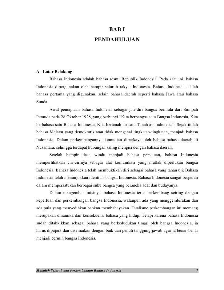 Contoh Kata Pengantar Makalah Sejarah Bahasa Indonesia