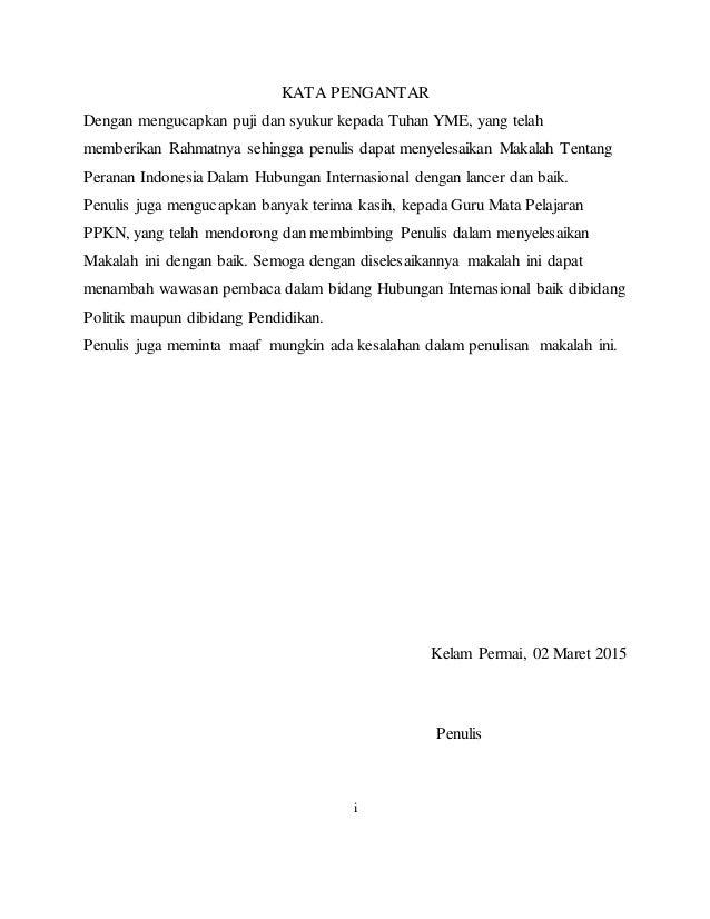 Tugas Makalah Peranan Indonesia Dalam Dunia Internasional