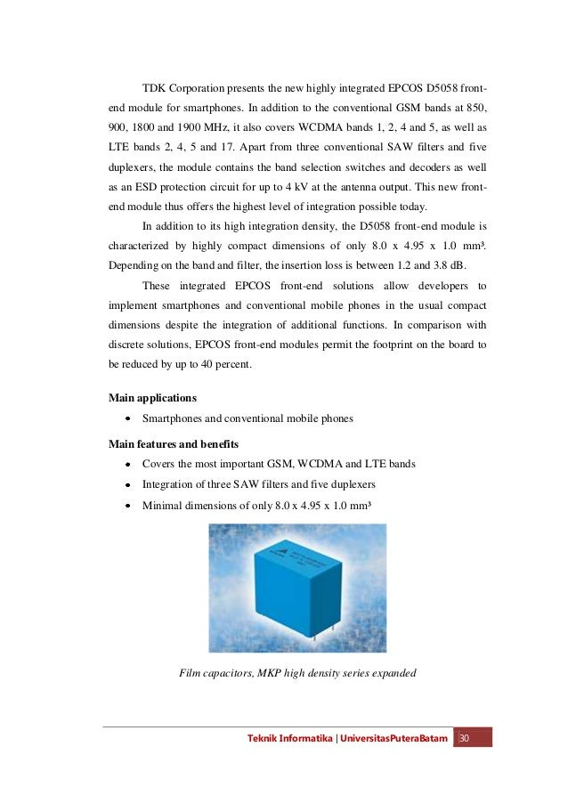 Teknik Informatika   UniversitasPuteraBatam 32 Main applications  DC link capacitors in power supplies and frequency conv...