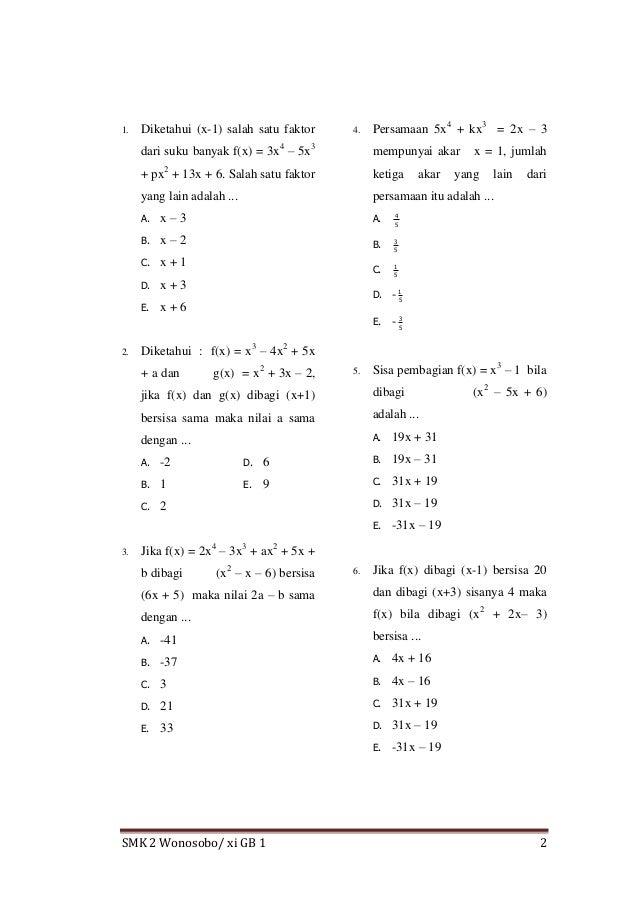 Bank Soal Matematika Smk Semester 2 Kelas Xi Pembahasan Tentang