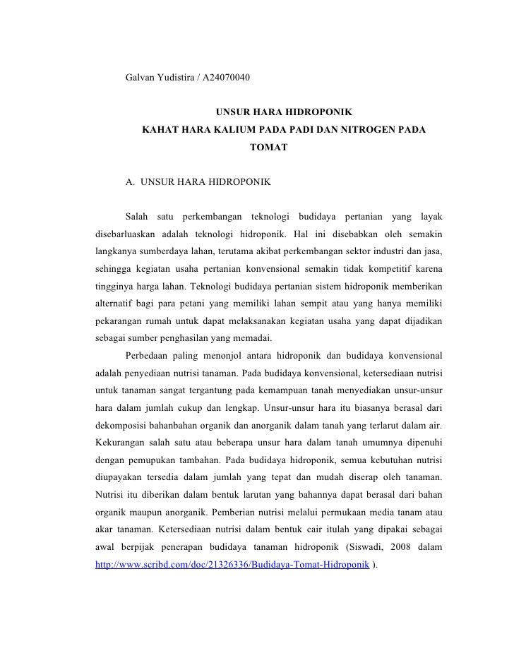 Galvan Yudistira / A24070040                               UNSUR HARA HIDROPONIK            KAHAT HARA KALIUM PADA PADI DA...