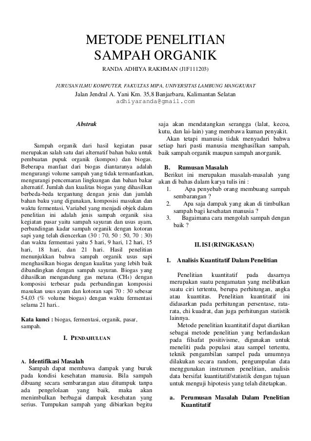 METODE PENELITIAN SAMPAH ORGANIK RANDA ADHIYA RAKHMAN (J1F111203) JURUSAN ILMU KOMPUTER, FAKULTAS MIPA, UNIVERSITAS LAMBUN...