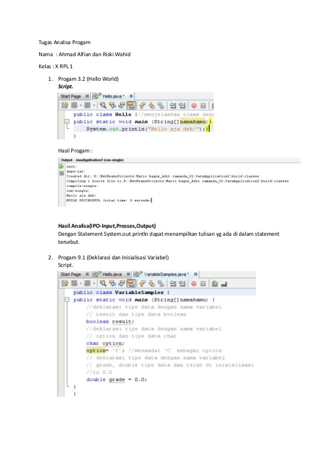 Tugas Analisa ProgamNama : Ahmad Alfian dan Riski WahidKelas : X RPL 1    1. Progam 3.2 (Hello World)       Script.       ...