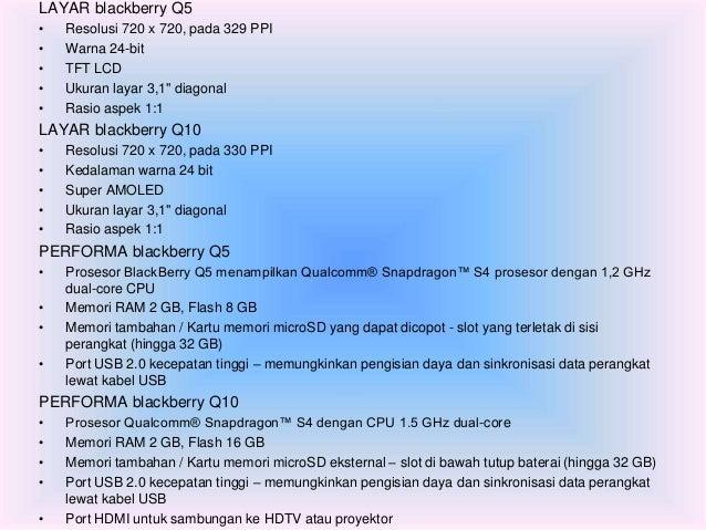 """LAYAR blackberry Q5  • Resolusi 720 x 720, pada 329 PPI  • Warna 24-bit  • TFT LCD  • Ukuran layar 3,1"""" diagonal  • Rasio ..."""
