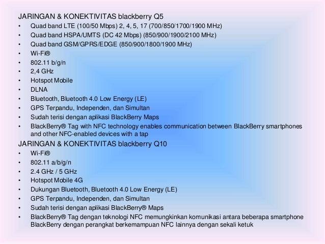 JARINGAN & KONEKTIVITAS blackberry Q5  • Quad band LTE (100/50 Mbps) 2, 4, 5, 17 (700/850/1700/1900 MHz)  • Quad band HSPA...