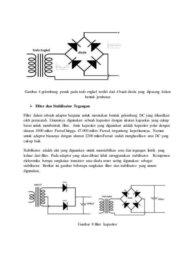 Gambar 4 gelombang penuh pada trafo engkel terdiri dari 4 buah dioda yang dipasang dalam bentuk jembatan  Filter dan Stab...