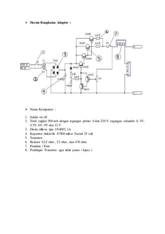 Skema Rangkaian Adaptor :  Nama Komponen : 1. Saklar on off 2. Trafo engkel 500 mA dengan tegangan primer 0 dan 220 V; ...