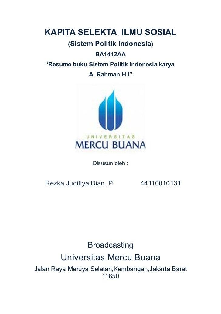 Resume buku Sistem Politik Indonesia karya A Rahman HI