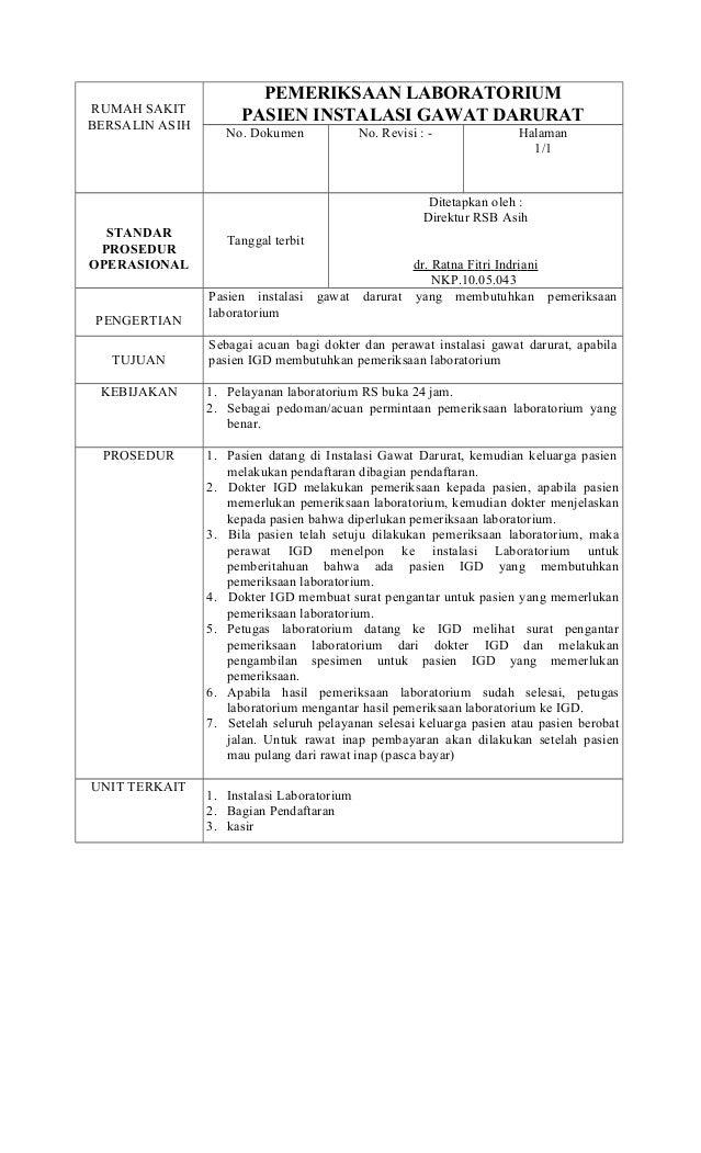 Standar Operasional Prosedur Dan Diagram Alir Pemeriksaan